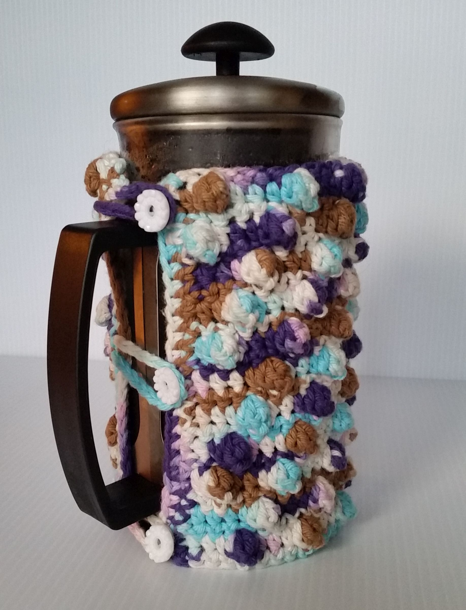 Free Crochet Pattern French Press Cozy Back