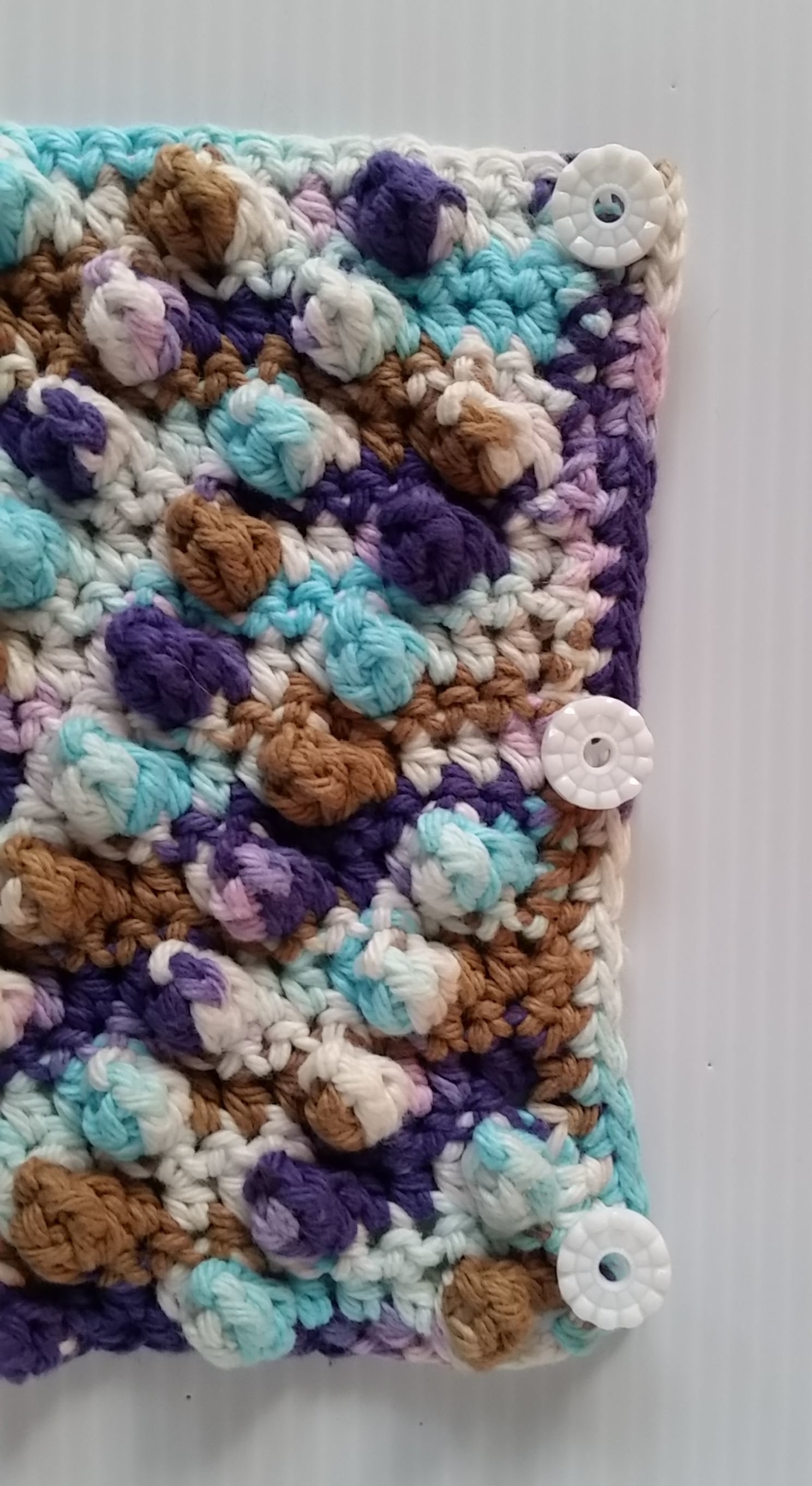 Free Crochet Pattern French Press Cozy Button Edge