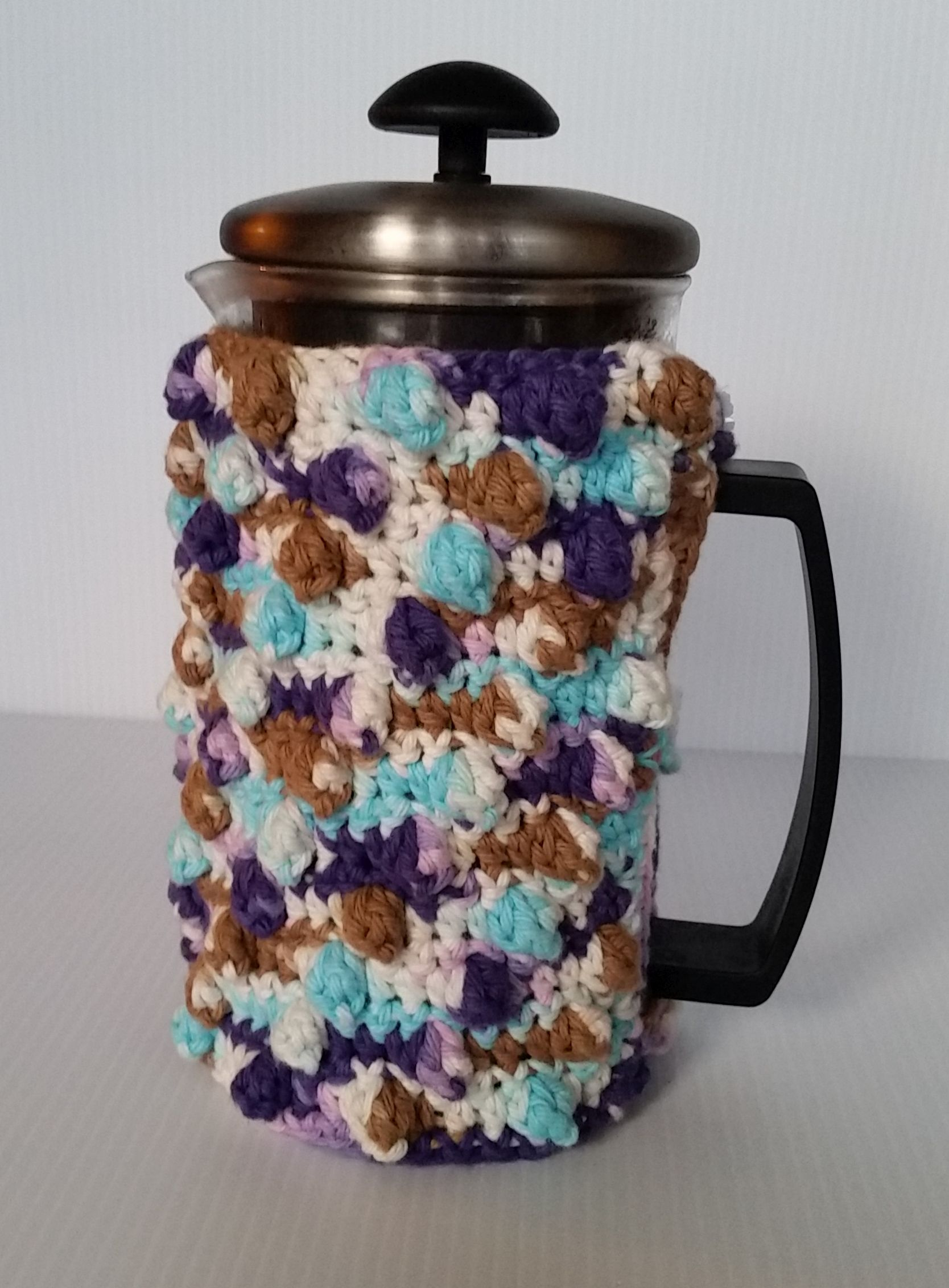 Free Crochet Pattern French Press Cozy Front