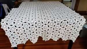 Unfinished Thread Crochet Tablecloth